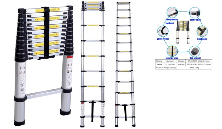 Telescoping Ladder Aluminum Telescopic Extension Tall Multi Purpose (12.5 Ft Black)