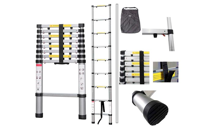 Telescopic ladder, Foldable Ladder - Maximum load: 330 lbs - Material: Aluminium alloy - 12.5 feet, FREE Carry bag, USA