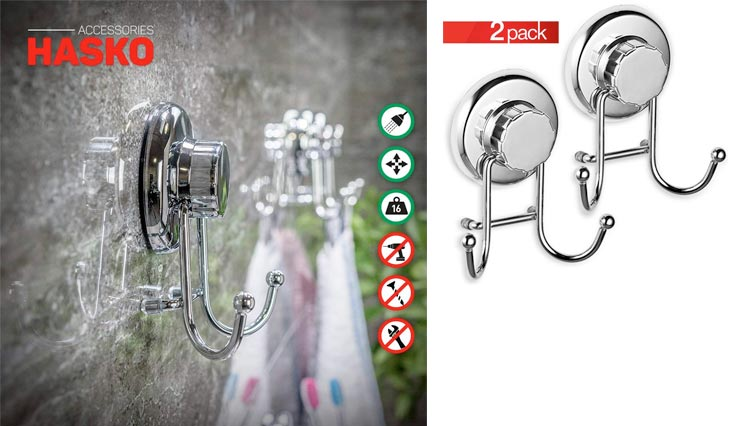 Powerful Vacuum Suction Cup Hook Holder - Organizer for Towel, Bathrobe and Loofah - Strong Stainless Steel Hooks for Bathroom & Kitchen, Towel Hanger Storage, Chrome (2 Pack)