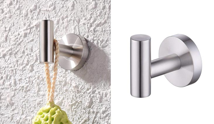 Stainless Steel Coat Hook Single Towel/Robe Clothes Hook for Bath Kitchen Garage Heavy Duty Contemporary Hotel Style Wall Mounted, Brushed Finish