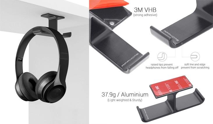 Headphone Holder, APPHOME Headphones Stand Hanger Hook Aluminum Stick-On 3M Adhesive Under Desk Dual Headsets Holder Mount for All Headphones (Black)