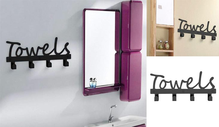 Wall-Mounted 4 Hook Wall Towel Rack Originality Clothing Hooks