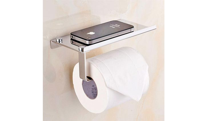 Wall Mount Toilet Paper Holders, SUS304 Stainless Steel Bathroom Tissue Holder with Mobile Phone Storage Shelf, Brushed Aluminum