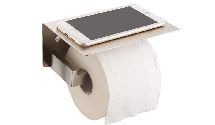 Toilet Paper Holders, SUS304 Stainless Steel Bathroom Paper Tissue Holder with Mobile Phone Storage Shelf Rack Brushed Nickel