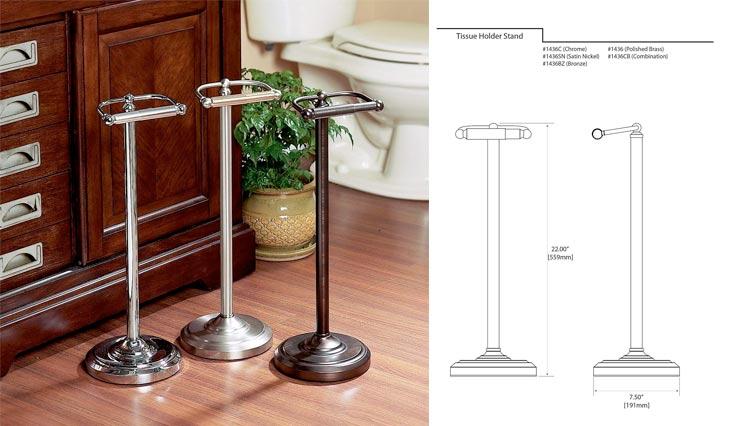 Pedestal Toilet Paper Holders, Satin Nickel