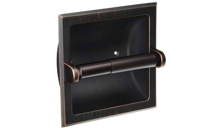 Oil Rubbed Bronze Recessed Toilet / Tissue Paper Holder All Metal Contruction - Mounting Bracket Included