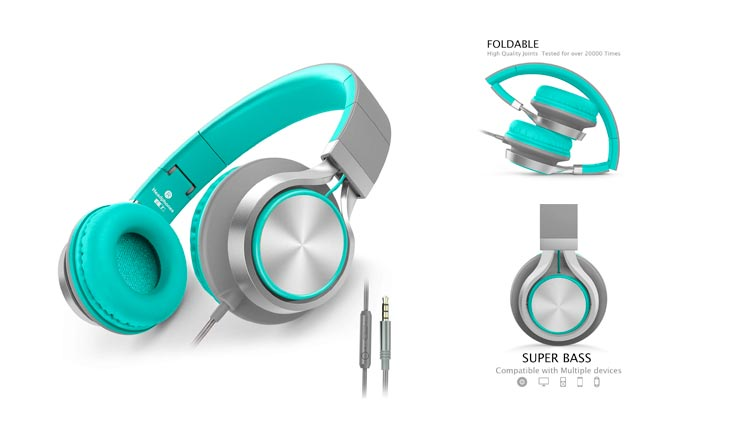 AILIHEN C8 Headphones Microphone Volume Control Folding Lightweight Headset Cellphones Tablets Smartphones Laptop Computer PC Mp3/4 (Grey/Mint)