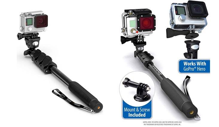 "Professional 10-In-1 GoPro Monopod, 15""- 47"" Waterproof Selfie Stick For Go Pro Hero, Action Cameras, Smartphones, Digital Compacts (Black)"