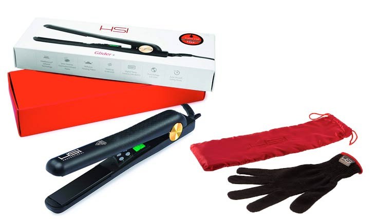HSI Professional Digital Ceramic Tourmaline Ionic Flat Iron Hair Straightener with Glove, Pouch and Argan Oil Treatment