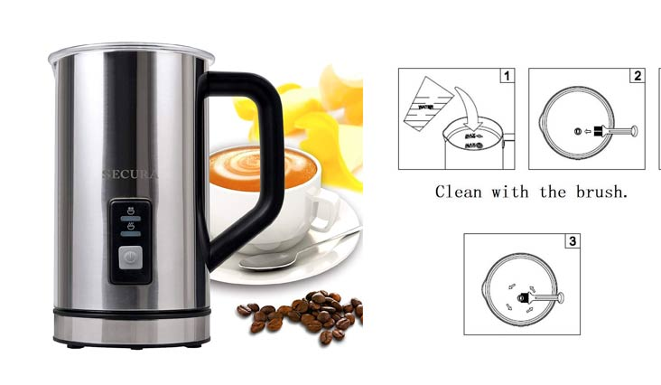Secura Automatic Electric Milk Frother and Warmer (2 cups)