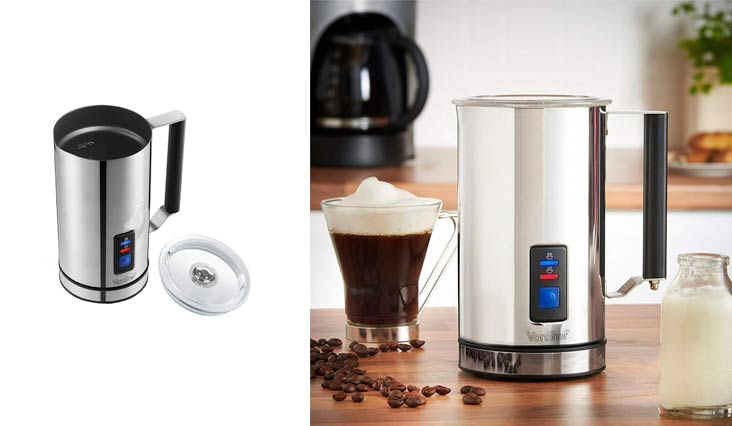 VonShef Electric Milk Frother, Warmer and Cappuccino Maker, Cordless, 360 Degrees Swivel Base, Stylish Design