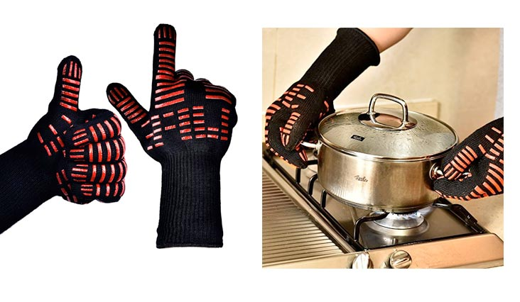 TTLIFE BBQ Gloves - Grilling Cooking Gloves - 932°F Extreme Heat Resistant Gloves