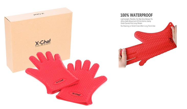 X-Chef Heat Resistant Silicone Gloves, Food Grade Heat Insulated Oven Mitts for Kitchen Cooking Baking Grilling Frying BBQ