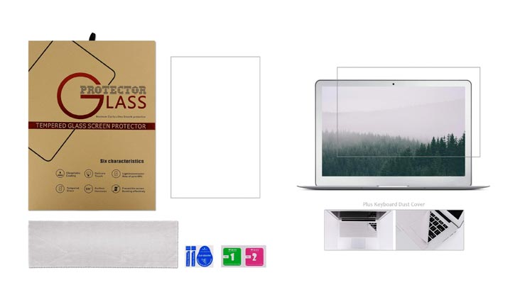 Tempered Glass Screen Protector for MacBook Air 13 Inch Model A1369 and A1466 + Large Microfiber Cleaning Cloth, Crystal Clear Anti Scratch and Bubble Free, Lifetime Risk-free Replacement Warranty