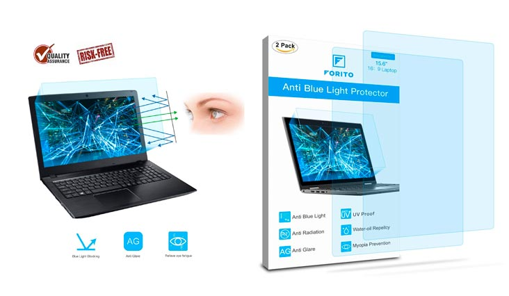 """2-PACK 15.6 Inch Laptop Screen Protector -Blue Light and Anti Glare Filter, FORITO Eye Protection Blue Light Blocking & Anti Glare Screen Protector for 15.6"""" with 16:9 Aspect Ratio Laptop"""