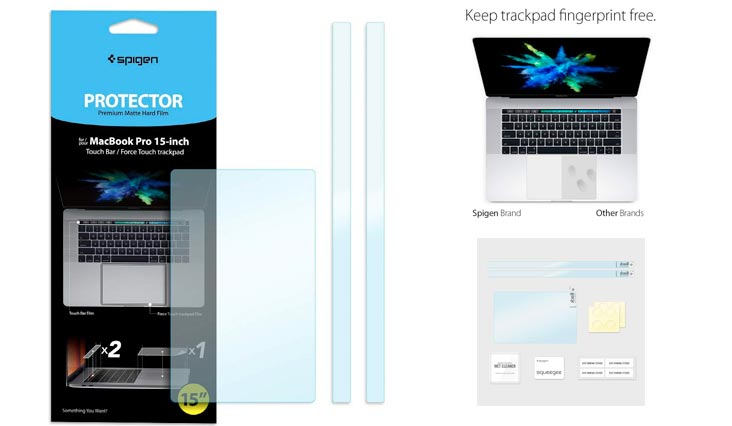 """Spigen MacBook Pro Touch bar/TrackPad Protector with Matte Film for MacBook Pro 15"""""""