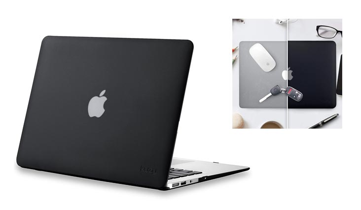 "Kuzy - AIR 13-inch BLACK Rubberized Hard Case for MacBook Air 13.3"" (A1466 & A1369) (NEWEST VERSION) Shell Cover - BLACK"