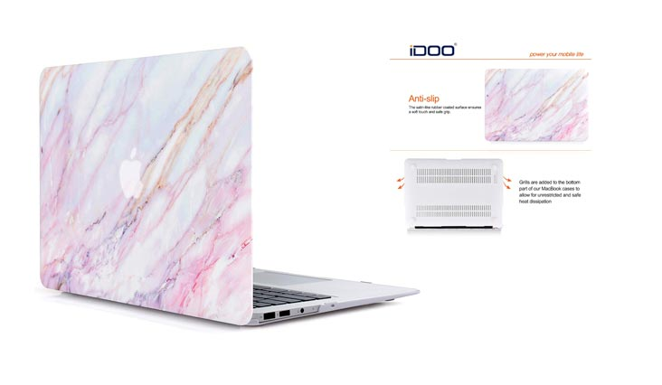 iDOO Soft Touch Hard Plastic Matte Case for MacBook Air 13 inch Model A1369 and A1466 - Pink Marble