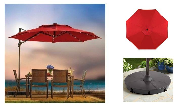 Outdoor Patio Cantilever Umbrella 11 Foot Round Canopy With Solor Powered Lights Includes Base And Storage Cover (Salsa)