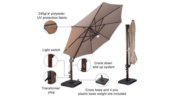 SORARA 11-1/2 Feet Offset Cantilever Umbrella Round Outdoor Patio Hanging Umbrella with Center Light, Cross Base & 4 pcs Base Weight and Umbrella Cover, Beige