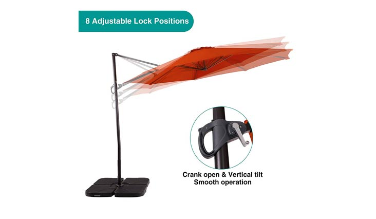 PHI VILLA 11ft Cantilever Patio Umbrella Offset Market Umbrella - 8 Positions - Cross Base Included, Beige