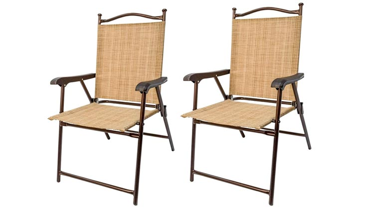 Greendale Home Fashions Outdoor Sling Back Chairs, Set of 2