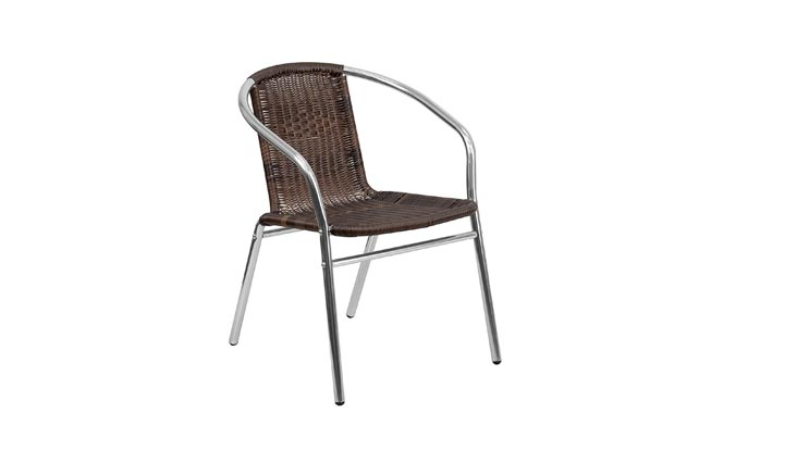 Flash Furniture Commercial Aluminum and Dark Brown Rattan Indoor-Outdoor Restaurant Stack Chair