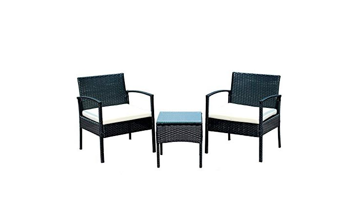 IDS Home Outdoor Patio Garden 3-Piece Black Rattan Wicker Furniture Sofa Set with White Cushioned