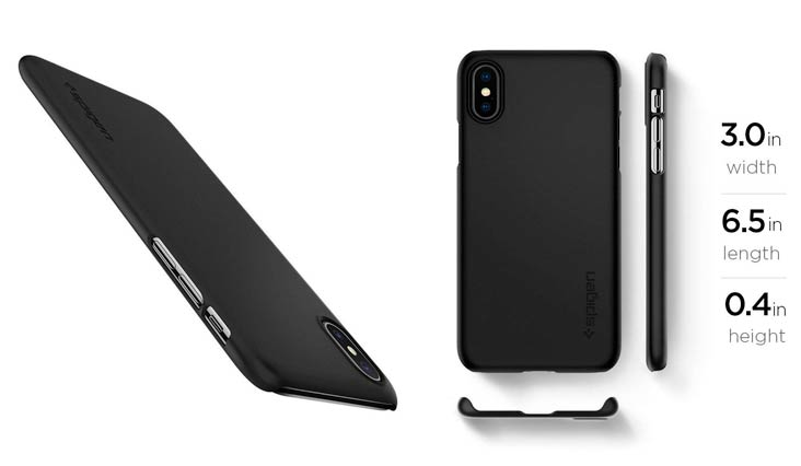 Spigen Thin Fit iPhone X Case with SF Coated Non Slip Matte Surface for Excellent Grip and QNMP Compatible for Apple iPhone X (2017) - Matte Black