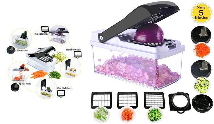 Vegetable Chopper Spiralizer Slicer, 5 Blades Onion Chopper Slicer Dicer Food Cutter Veggie Pasta&Spaghetti Maker with 2 Spiral Slicer&3 Chopper Blades for Low Healthy Carb/Paleo/Gluten-Black