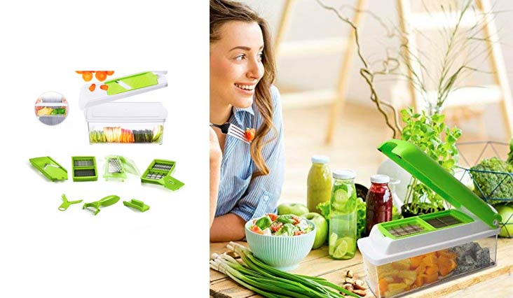 Beemoon Vegetable Chopper - 13 IN 1 Vegetable Slicer with 10 Stainless Blades and 1.5L storage container -- Cutter, Peeler, Julienne Slicer for Onion, Potato, Tomato and Fruits