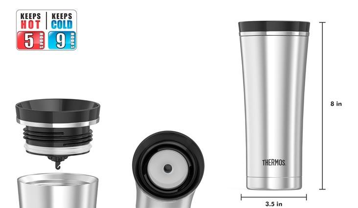 Thermos 16 Ounce Vacuum Insulated Travel Mug, Steel/Black