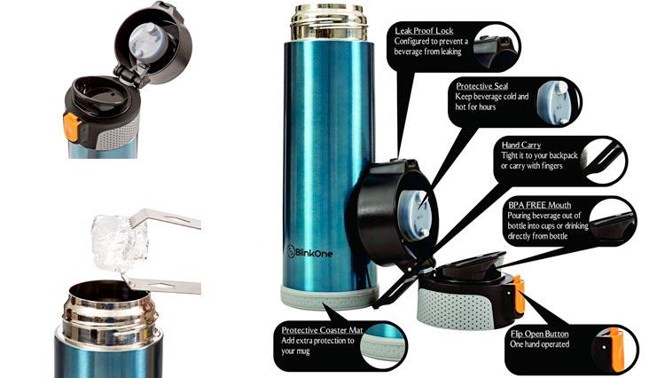 BlinkOne Travel Mug: Stainless Steel Leak Proof Vacuum Water Beverage Bottle with Flip-on Lip