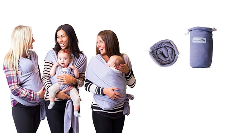 Best Baby Carrier Sling Wrap for Moms - Original Grey Cotton Quality Material - Comfortable, Durable, & Fashionable - For Mothers with Infant Newborn to 35lbs Babies - Shower Gift - By Belephant Baby