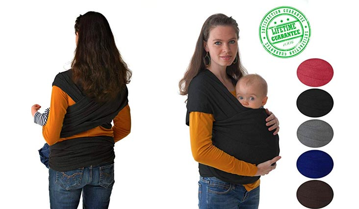 #1 Style Child Carrier. This 4-in-1 Black Baby Wrap and Infant Sling Keeps Your Baby Close. Free e-Book With Purchase, How to Bond With Your Baby, $15 Value
