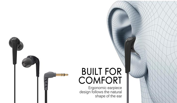 MEE Audio RX18 Comfort-Fit In-Ear Headphones with Enhanced Bass (Black)