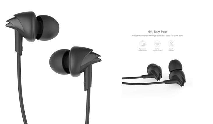 UiiSii C200 in ear Sports Headphone with Mic for Smartphones - Black