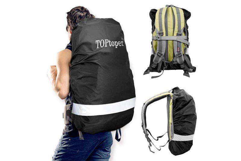 TOPtoper Reflective Waterproof Backpack Rain Cover (25-80L), Upgraded Adjustable Vertical Buckle Strap and Storage Bag