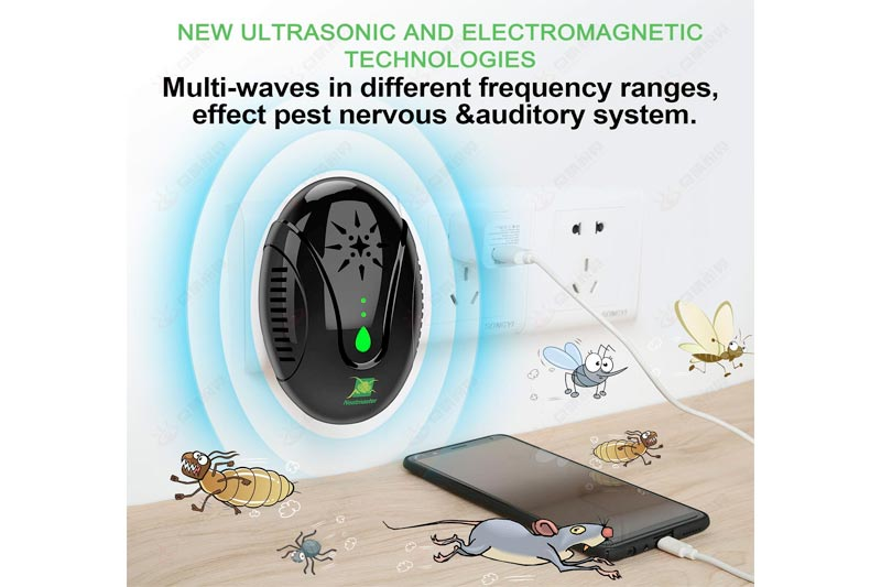 Ultrasonic Pest Repeller for Pest Control, 3 in 1 Electronic Bug Repellet Plug-in Indoor. repel Mice Mosquitoes Bugs Roaches Ants Spiders Rats Bats Birds Flies Fleas Rodents and Insects (black)
