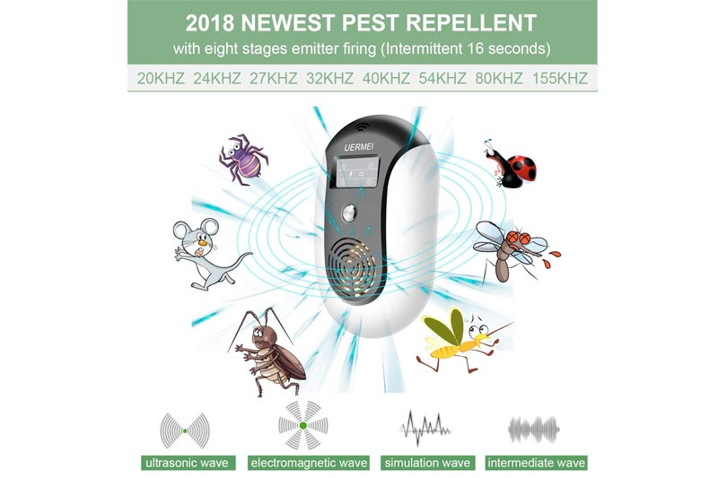 UERMEI Ultrasonic Pest Repellent 2018 Upgraded,Pest Control Repeller Plug in (Black),Pest Repellent Indoor&Outdoor Variable Frequency Electronic Control for Wasp Squirrel Roach Rodent Bedbug