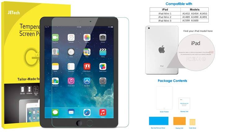 JETech Screen Protector for Apple iPad Mini 1 2 3 (Not Mini 4), Tempered Glass Film