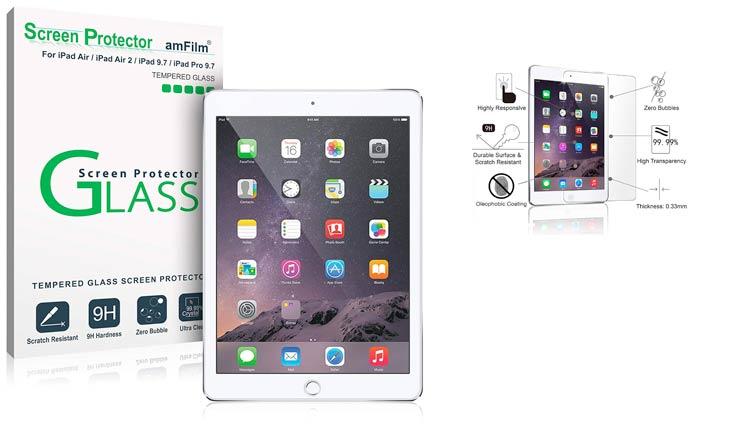 "amFilm iPad 9.7 Screen Protector Tempered Glass for Apple iPad 9.7"" (2018, 2017)/iPad Pro 9.7 Inch/iPad Air/iPad Air 2, New iPad 5th, 6th Gen, Apple Pencil Compatible"