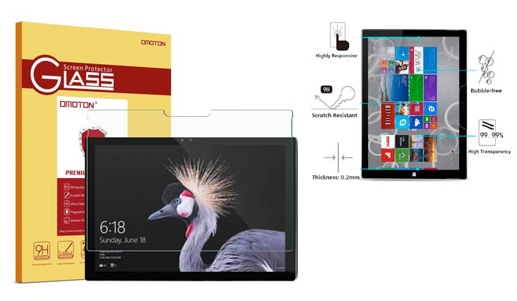New Surface Pro 2017/Surface Pro 4 Screen Protector - OMOTON [High Responsivity] [Scratch Resistant] [Bubble Free] [High Definition] Tempered Glass Screen Protector