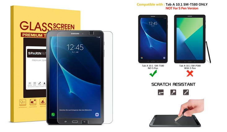 SPARIN Galaxy Tab A 10.1 Screen Protector, SM-T580 Model, 0.3mm Tempered Glass, Bubble-Free, Screen Protector for Samsung Galaxy Tab A 10.1, Clear