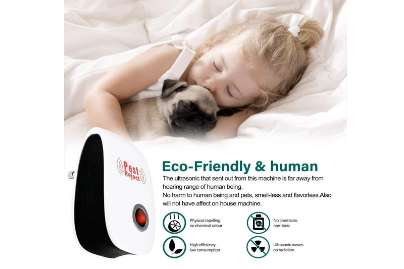 [2018 Upgraded] Pest Control Ultrasonic Pest Repeller, Set of 4 Electronic Plug in Repellent Indoor for Insects, Mosquitoes, Mice, Spiders, Ants, Rats, Roaches, Bugs, Non-Toxic, Humans & Pets Safe