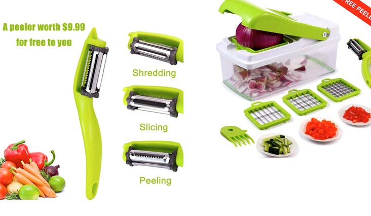 Vegetable Chopper, Upintek Vegetable Fruit Dicer,Effortless No-Mess Salad Onion Vegetable Cutter+Peeler Slicer (Freebies),3Interchangeable Blades Set with Food Container,Cleaning Brush for Veggie Pasta