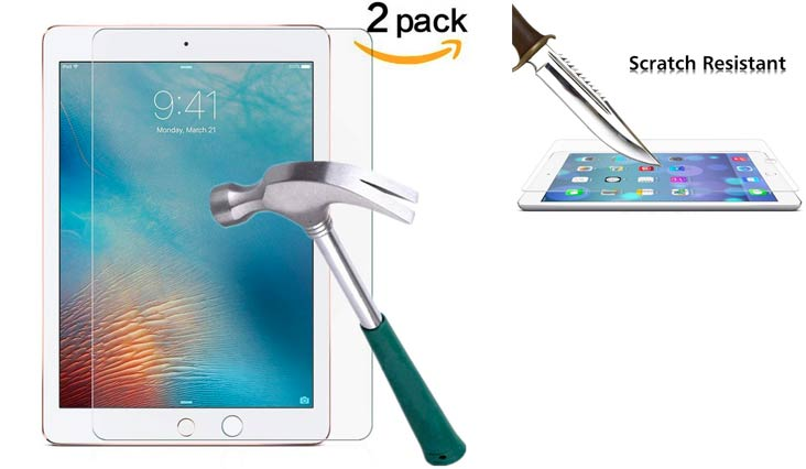 TANTEK Anti-Glare 9H Tempered Glass Screen Protector for iPad Air / Air 2 / iPad Pro 9.7-Inch (2 Pack)