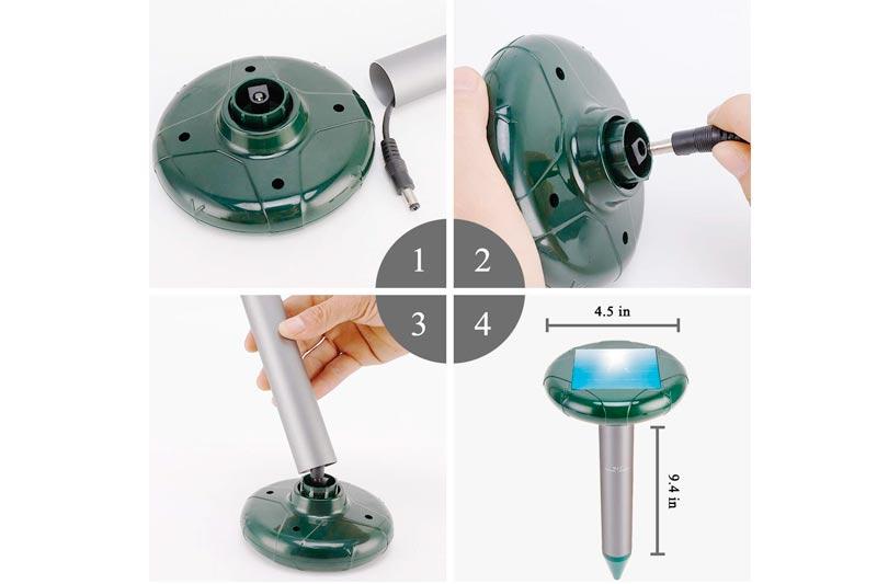 Fillixar Mole Repellent, Solar Powered Ultrasonic Gopher Sound Chipmunk Repellent, Mole Repellant, Sonic Rodent Repeller Ultrasonic Pest Repeller, Solar Mole Repeller 4 Pack